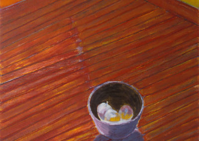 olieverf schilderij van Wim Konings met een schaal met appels op een bruine ateliervloer