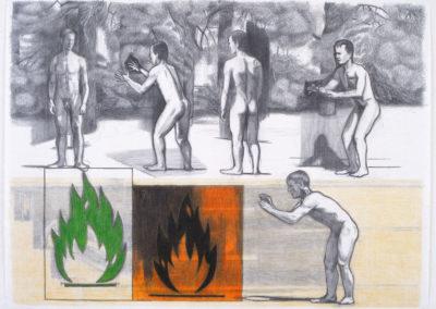 tekening van Wim Konings met vijf figuren en twee vuren