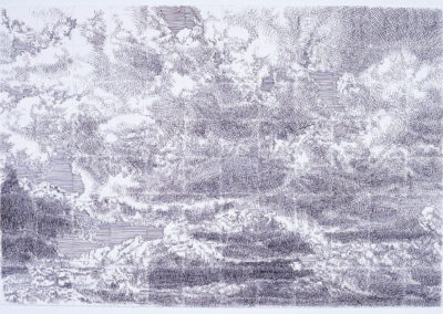 wolkenstudie I, werk van Wim Konings in pen en inkt op papier