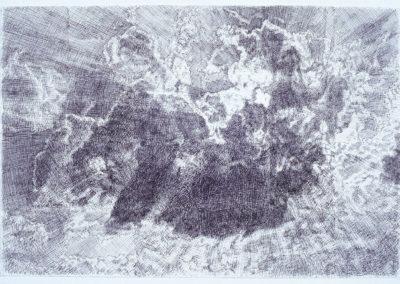 wolkenstudie van Wim Konings in pen en inkt op papier