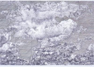 wolkenstudie in pen en inkt op papier van Wim Konings
