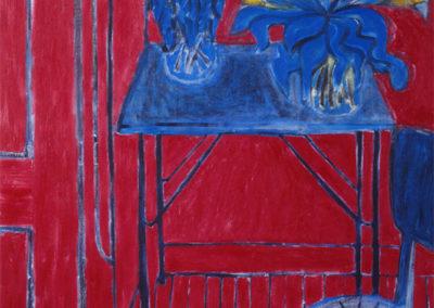 Olieverf kunstwerk van Wim Konings van een stilleven van bloemen en appels in rood en blauw