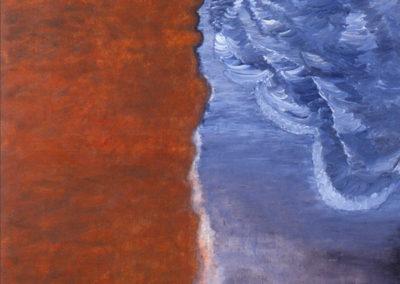 olieverf kunstwerk van Wim Konings met de vloedlijn van de zee te zien