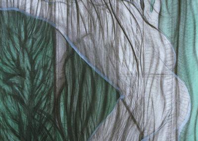 Aquarel van WIm Konings van Het Raam in groen en houtskool
