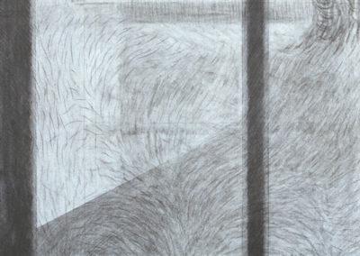 werk van Wim Konings met raamkozijn en uitzicht op een tuin te zien is