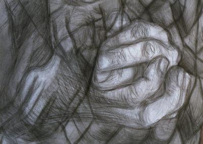 werk van Wim Konings in houtskool krijt en aquarel van handen in grijstinten