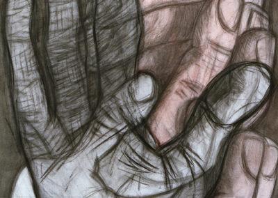 aquarel van Wim Konings genaamd vingeroefeningen II waarop je twee handen ziet