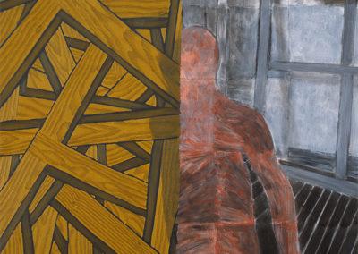 prijswinnend werk van Wim Konings in olieverf op linnen, studie voor een kruisiging