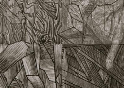 kunstwerk van Wim Konings in gemengde technieken Studie voor een verdelign van het hout I