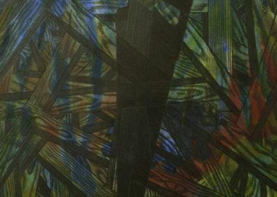 aquarel van Wim Konings met een zaak en houtdelen, zondertitel uit 1990