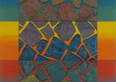 Olieverf werk van Wim Konings, rocking, serie van 3, 1999