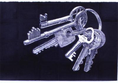 pentekening van een sleutelbos van Wim Konings