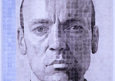 Zelfporttret van WIm Konings in gewassen inkt op papier uit 2006