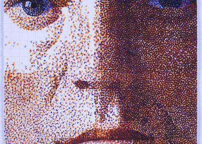 Zelfportret van Wim Konings in aquarel op papier