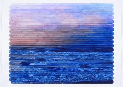aquarel van Wim Konings, zeegezicht