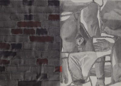 tekening van Wim Konings met muur en lichaamsdelen