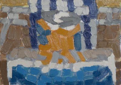 stilleven met dozen en blik van Wim Konings in olieverf op katoen