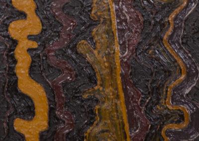 olieverf schilderij van Wim Konings in oker bruin en bordeaux rood