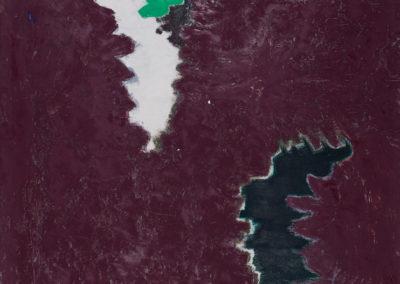 olieverf werk van Wim Konings in paars groen zwart en wit