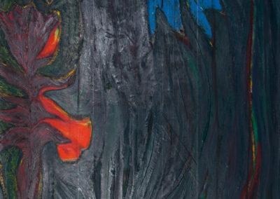 olieverf werk van Wim Konings in groen en blauw