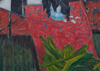 stilleven van Wim Konings met bloemen en een tuinslang in groen en rood