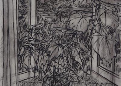 studie met open raam, gemengde technieken, werk van Wim Konings