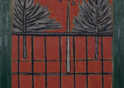 olieverf schilderij van Wim Konings in rood tinten van een balkon met bomen en een lantaarnpaal