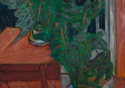 olieverf schilderij van Wim Konings met een tafel en planten