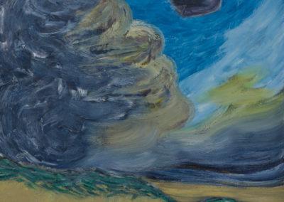 olieverf werk van Wim Konings met wolken, duinen en een zwarte vogel