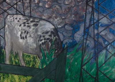 schilderij van Wim Konings met een koe, hekwerk en gras