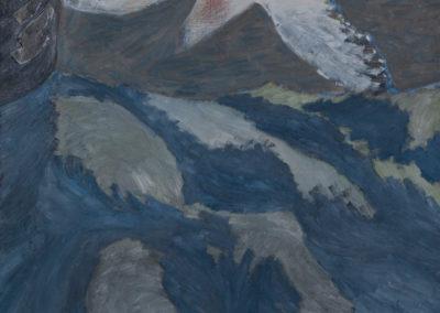 olieverf van Wim Konings van een witte vogel en blauwe vlakken