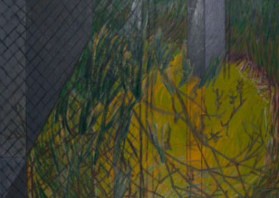 olieverf schilderij van Wim Konings genaamd de zone met gras en hekwerk