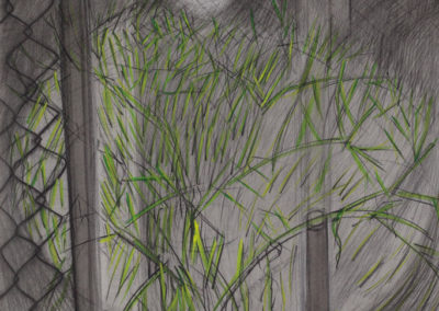 Landschap met gras en gloeilamp van Wim Konings in gemengde technieken