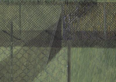 acrylverf op linnen van Wim Konings genaamd de zone met gras en hekwerk