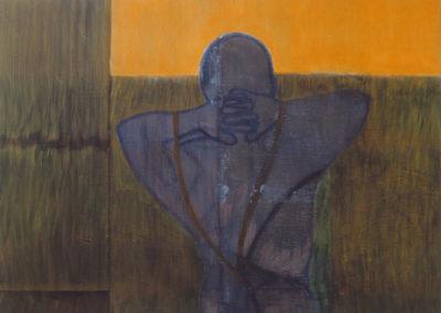 man en moeras, acrylverf schilderij van Wim Konings
