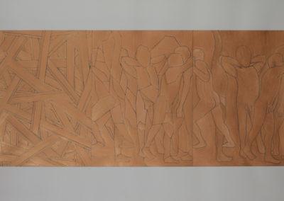 werk van Wim Konings met figuren in gemengde technieken