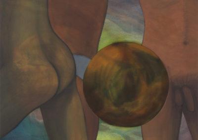 studie voor een balspel kunstwerk met twee figuren en een bal in gemengde technieken van Wim Konings