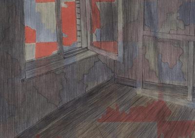 Studio met open venster werk van Wim Konings in gemengde technieken