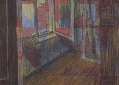 gemengde technieken Wim Konings Studio met open venster