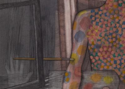 zwart krijt en aquarel van Wim Konings genaamd studiovenster
