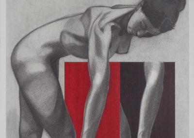 tekening van een vrouw in gemengde technieken van Wim Konings