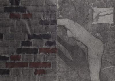 tekening van Wim Konings, vrouw en muur