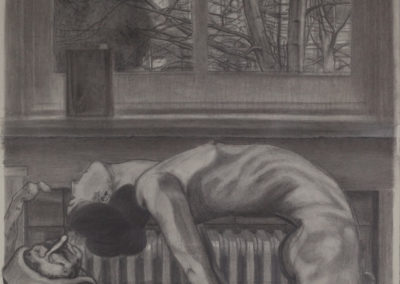 tekening gemengde technieken van de studie voor de verzoeking van de heilige Anthonius van een bos bij rekken, onderdeel van een serie van drie van Wim Konings