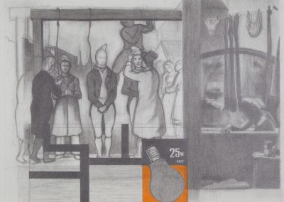 tekening van Wim Konings met hangende en badende figuren