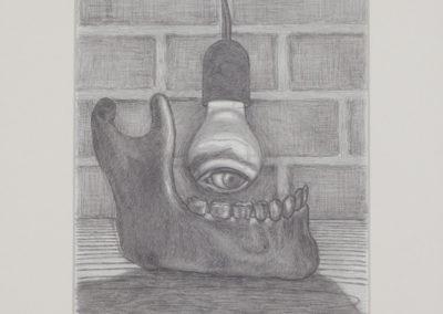 tekening van een kaak en oog van Wim Konings
