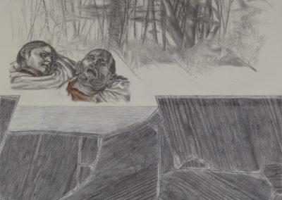 twee hoofden en een bosrand van Wim Konings in een tekening