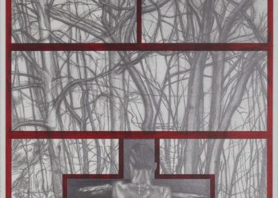 crucifix met een torso en bomen van Wim Konings