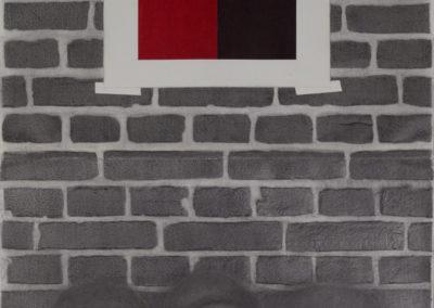 drie vrouwen voor een muur, tekening van Wim Konings