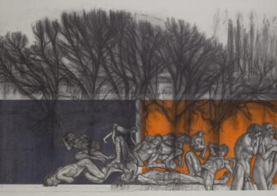 bomen met figuren in allerlei houdingen, tekening van Wim Konings