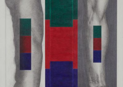 tekening van een been en arm met rood groen en blauwe vlakken van Wim Konings